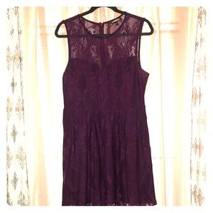Sleeveless purple lace dress